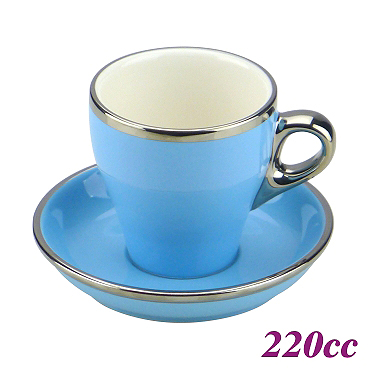#18 Large Cappuccino Cup w/ Saucer - Baby Blue (HG0844BB)