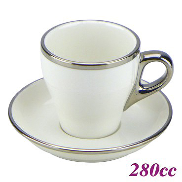 #19 Latte Cup w/ Saucer - White (HG0845W)