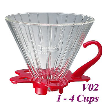 V02 Glass Coffee Dripper - Red (HG5359R)