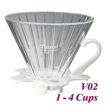 V02 Glass Coffee Dripper - White (HG5359W)
