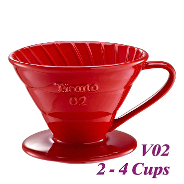 V02 Porcelain Coffee Dripper - Red (HG5538R)