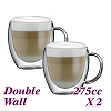 HG001 Double Wall Glass w/ handle -Twin Packs (HG2340)