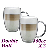 HG002 Double Wall Glass w/ handle -Twin Packs (HG2341)